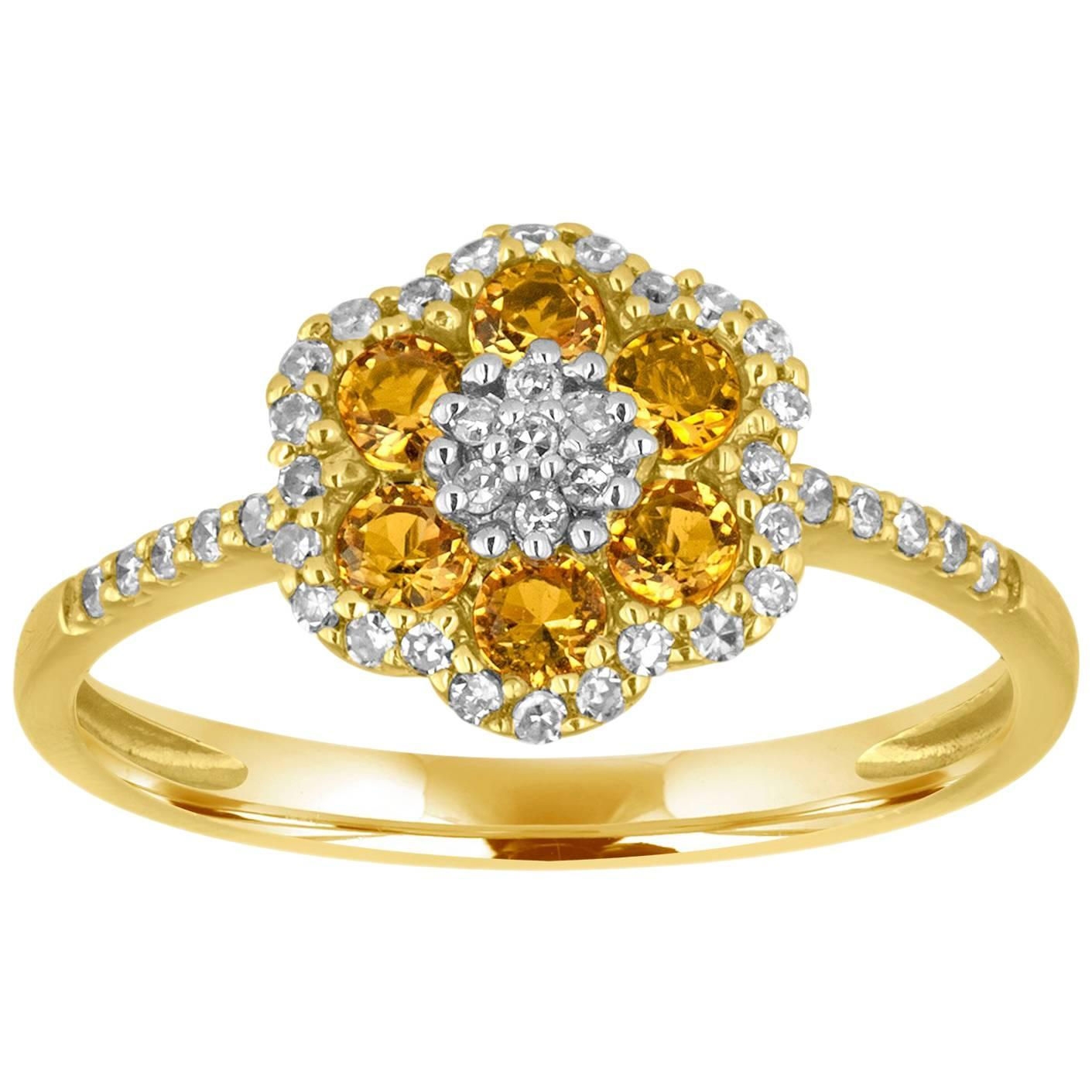 0.52 Carats Diamonds and Citrine Gold Flower Ring