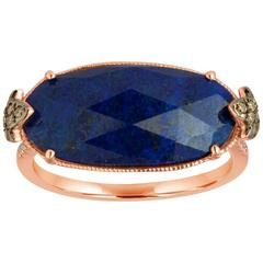 Lapis Lazuli 4.32 Carats Faceted Cabochon and Diamond Gold Ring