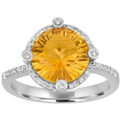 3.11 Carat Millennium Round Cut Round Citrine and Diamond Gold Ring