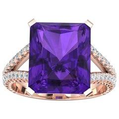 8.20 Carat Amethyst  0.50 Carats white Diamonds 18k rose gold Ring