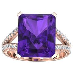Ferrucci 8.20 Carat Amethyst Rose Gold 0.50 Carats of Diamonds Ring