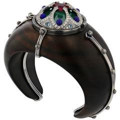 Elie Top Desdemone Cuff Ebony 18 Carat White Gold Rubelite Lapis Diamonds