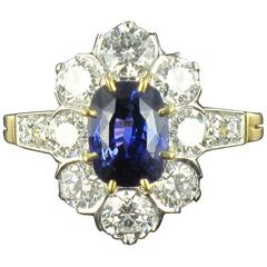 French Cushion Cut Sapphire Diamond Gold Platinum Cluster Ring