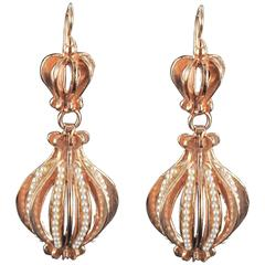 Italian Vermeil Pearl Pendant Earrings