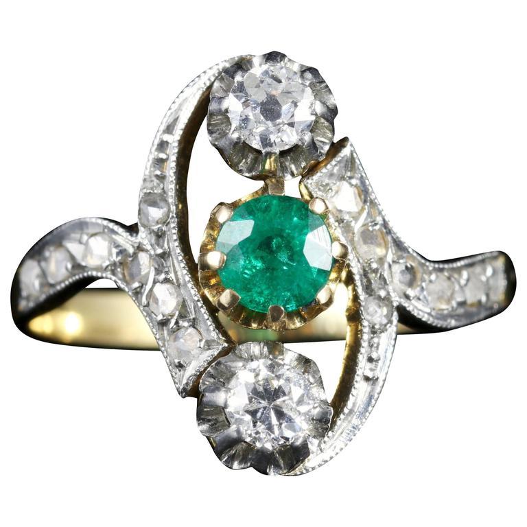 Antique Victorian French Emerald and Diamond Ring Circa 1900