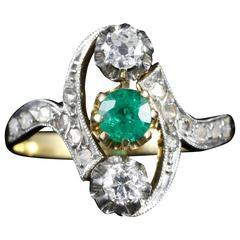 Antique Victorian Emerald and Diamond Ring, circa 1900