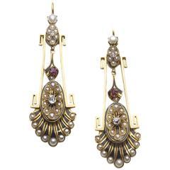 Victorian Pearl Ruby Diamond Gold Earrings
