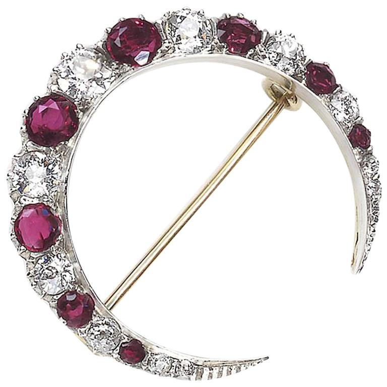 Antique Ruby Diamond Crescent Brooch