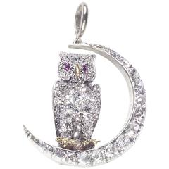 Antique Owl and Crescent Brooch