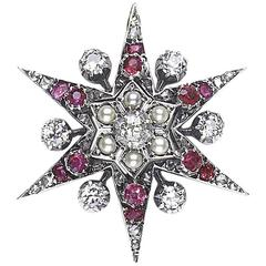 Victorian Ruby Pearl Diamond Star Pendant
