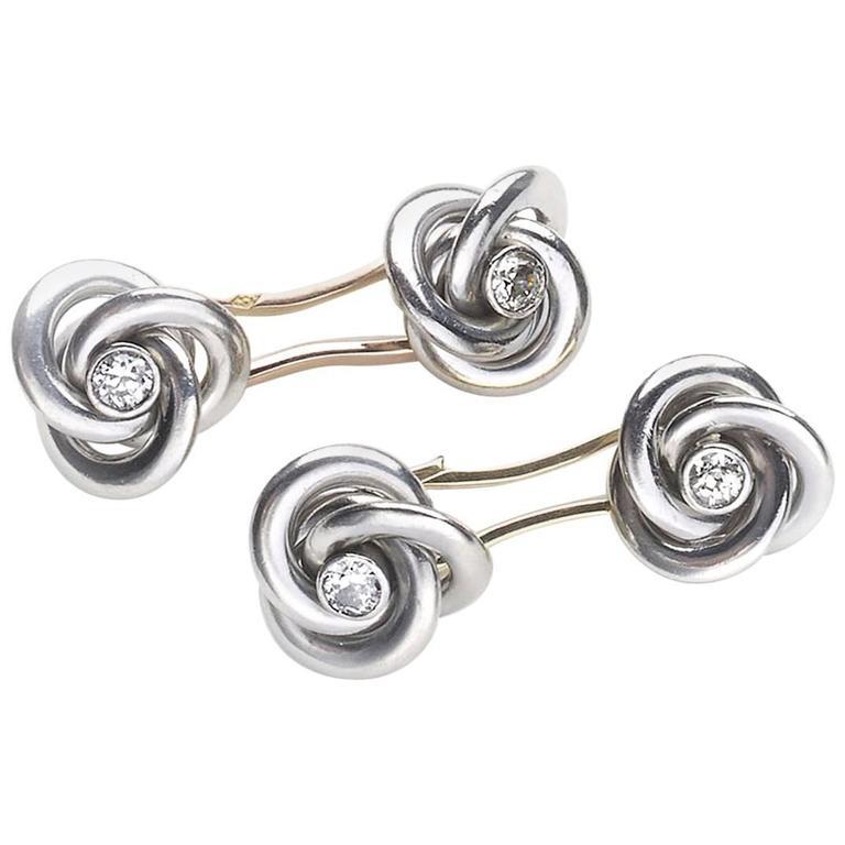 Art Deco French Diamond Gold Platinum Knot Cufflinks
