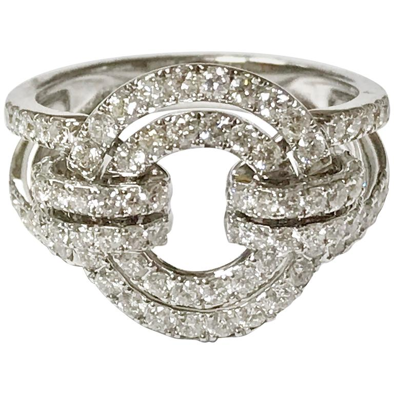 Diamonds and White Gold Articulated Circle Ring