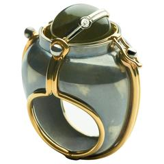 Elie Top Mecanique Celeste Bague Scaphandre Or, Onyx, Diamant