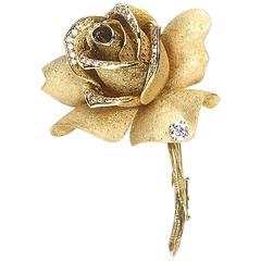 Mellerio Diamond Gold Rose Brooch