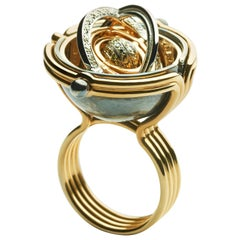 Elie Top Mecanique Celeste Bague Sphere or Jaune, Diamants