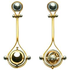 Elie Top Mecanique Celeste Boucles d'Oreilles Pluton Or Jaune, Diamants