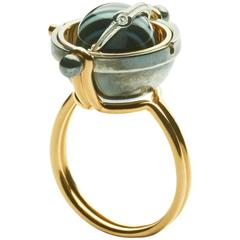 Elie Top Mecanique Celeste Bague Sphere, Or Jaune, Onyx, Diamants