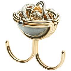 Elie Top Mecanique Celeste Bague Double Doigt Sphere Or Jaune, Diamants