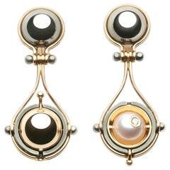 Elie Top Mécanique Céleste Pluton Earrings Yellow Gold Akoya Pearl Diamonds