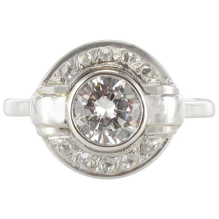 French Art Deco Round Diamond White Gold Ring