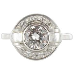 French Art Deco Round Diamond White Gold Ring