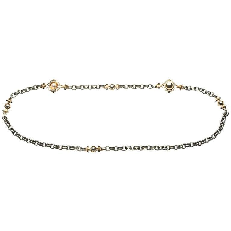 Elie Top Mecanique Celeste Collier 3 Bracelets Or Jaune, Perles Akoya
