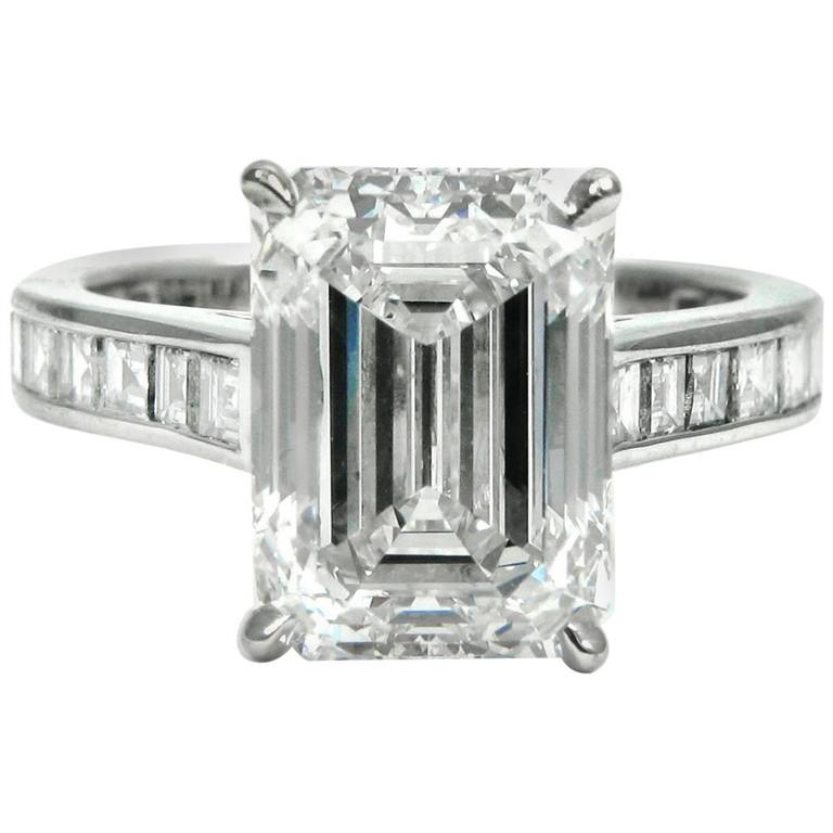c58ab5db9f875b GIA Certified 4.01 Carat Emerald Diamond Platinum Engagement Ring by J  Birnbach For Sale