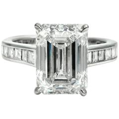 GIA Certified 4.01 Carat Emerald  Diamond Platinum Engagement Ring by J Birnbach