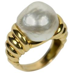 Christine Escher French Mabé Pearl Gold Ring, circa 1995