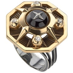 Elie Top Etoile Mystery Octogonal Diamond Onyx Ring