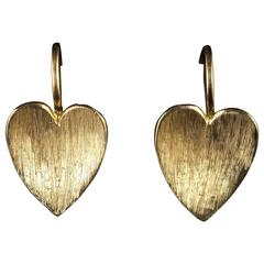 Antique Victorian Gold Heart Earrings, circa 1900