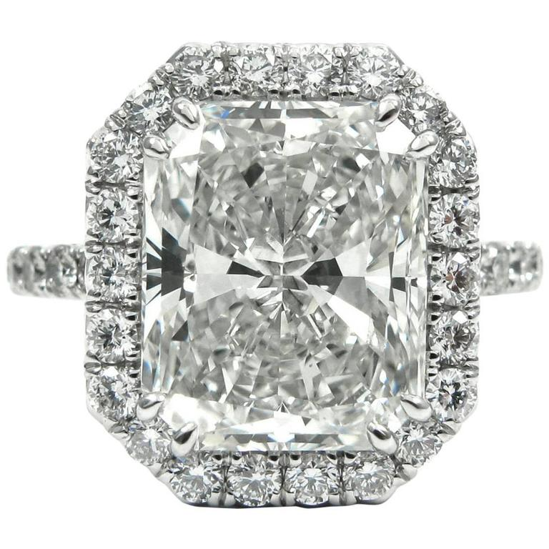 GIA Certified 4.04 Carat Radiant Cut Diamond Pave Halo Engagement Ring