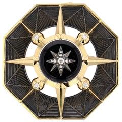 Elie Top Etoile Mysterieuse Broche Octo Or Jaune, Onyx, Diamants
