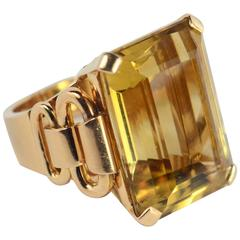 French Retro Yellow Citrine Rose Gold Ring