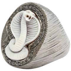 Amedeo Cobra Cameo and Black Diamonds Ring