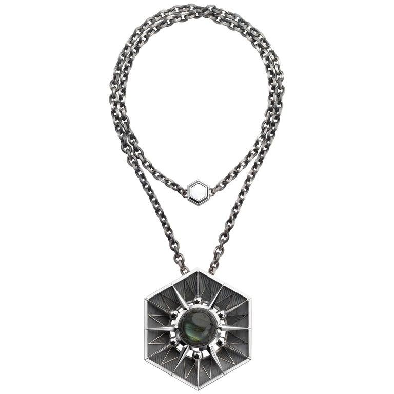 Elie Top Etoile Mysterieuse Collier Hexa Argent Labradorite