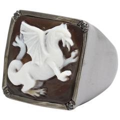 Amedeo Drago Cameo Black Diamonds Ring