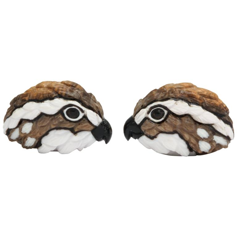 Michael Kanners One of a Kind Quail Cufflinks For Sale