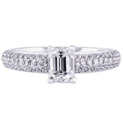 0.80 Carat Emerald Cut Diamond Engagement Ring