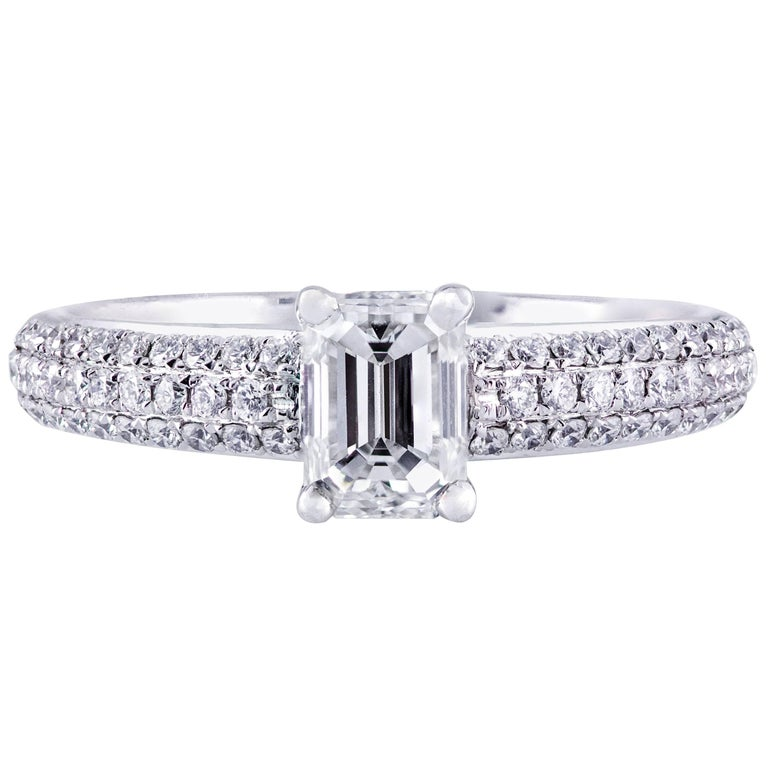 0.80 Carat Emerald Cut Diamond Engagement Ring For Sale