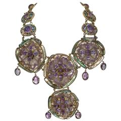Tony Duquette Impressive Very Large Amethyst Abalone Unique Necklace