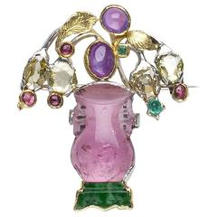 Tourmaline Yellow and White Gold Jardiniere Brooch