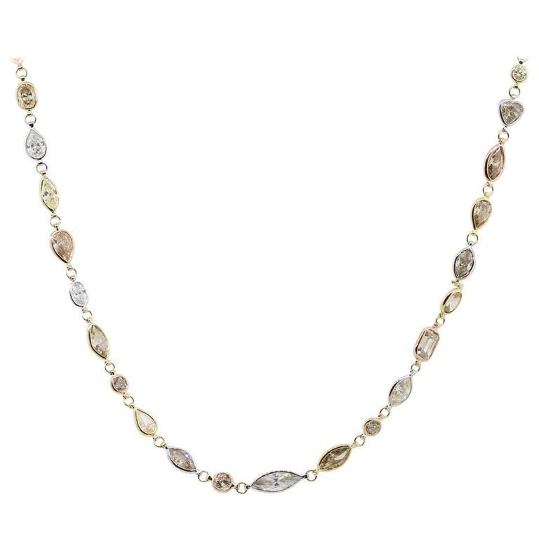 51.34 Carat Array of Diamonds Tricolor Gold Necklace