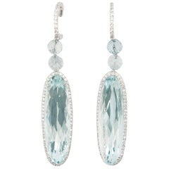 Laura Munder Aquamarine Diamond White Gold Earrings