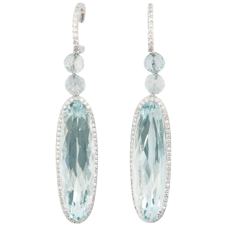 Laura Munder Aquamarine Diamond White Gold Earrings For Sale