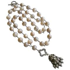 Champagne Mystic Moonstone Antique Sterling Lion's Paw Amulet Necklace