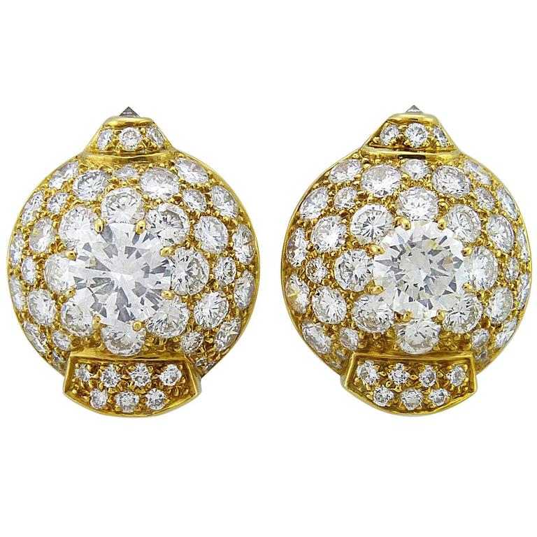 Cartier Diamond 18K Yellow Gold Earrings