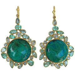 Lauren Harper Chrysocolla Apatite Aquamarine Gold Drop Statement Earrings