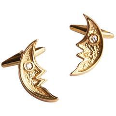 1963 Georges Braque Roundcut Diamond Gold Pandia Cufflinks
