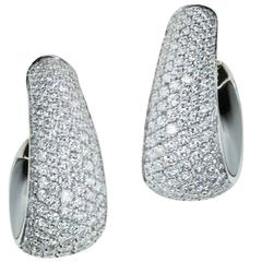 "Magnificent Vhernier ""Zingara"" Pavé Diamond and Jet Ear Clips in Gold"